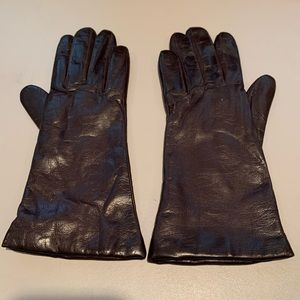 NWOT Brown Leather Cashmere lined gloves